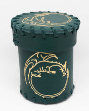Load image into Gallery viewer, Dice Cup, Forest Green leather with embossed Golden Dragon