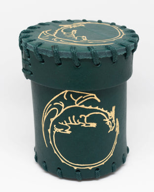 Dice Cup, Forest Green leather with embossed Golden Dragon