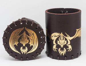 Dice cup, Brown leather with embossed Golden Dragon