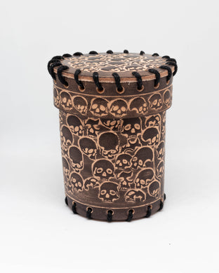 Dice cup, Brown Leather Skull motif