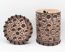 Load image into Gallery viewer, Dice cup, Brown Leather Skull motif