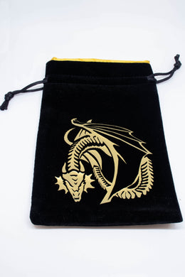 Dice Bag, Black Velour with Golden Dragon Motif