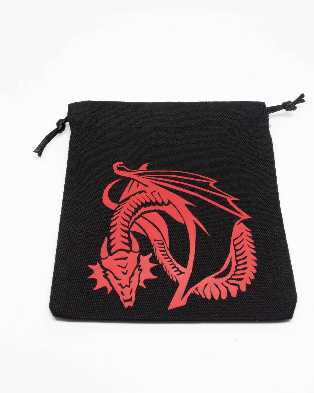 Dice Bag, Black with Red Dragon Print