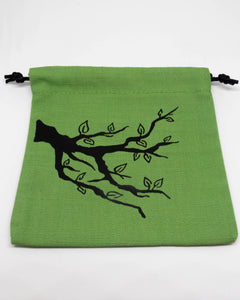 Dice Bag, Green with Forest Motif