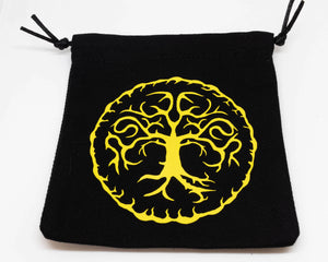 Dice Bag, Black with Yellow Druidic Motif