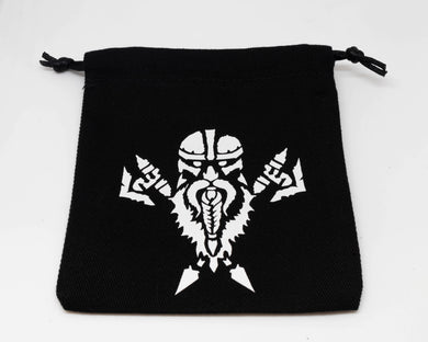 Dice Bag, Black with White Dwarven Motif