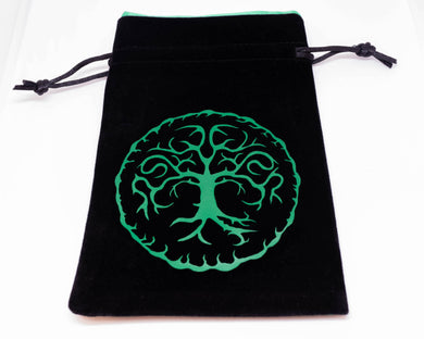 Dice bag, Black Velour with Green Druidic Motif