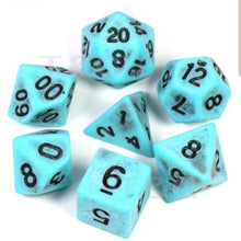 "Load image into Gallery viewer, 7 dice Polyhedral ""Splatter"" set (multiple colours)"