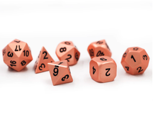 Load image into Gallery viewer, Copper metal dice with black numbering