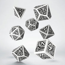 Load image into Gallery viewer, Dwarven Dice - white and black, 7 dice polyhedral set
