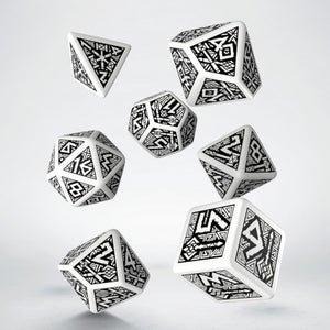 Dwarven Dice - white and black, 7 dice polyhedral set