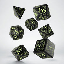 Load image into Gallery viewer, Elven dice, glow in the dark, 7 dice polyhedral set