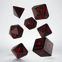 Load image into Gallery viewer, Elven Dice, Black and Red, 7 dice polyhedral set