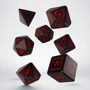 Elven Dice, Black and Red, 7 dice polyhedral set