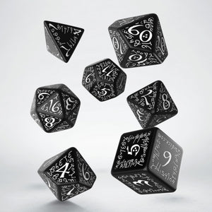 Elven Dice, Black and White, 7 dice polyhedral set