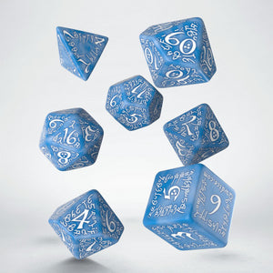 Elven Dice, Blue and White, 7 dice polyhedral set
