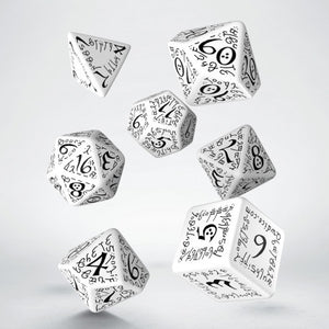 Elven Dice, White and Black, 7 dice polyhedral set