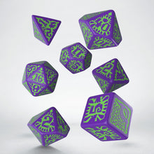 Load image into Gallery viewer, Pathfinder Goblin Dice, Purple and Green 7 dice polyhedral set