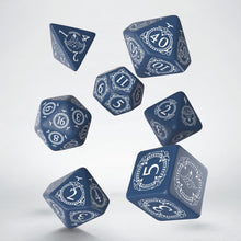 Load image into Gallery viewer, Pathfinder Hell's Rebels, Blue and White 7 dice polyhedral set