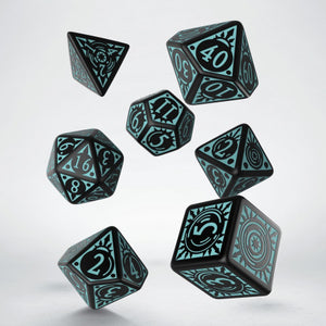 Pathfinder Iron Gods, Black and Blue 7 dice polyhedral set