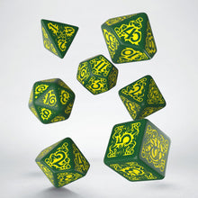 Load image into Gallery viewer, Pathfinder Strange Aeons, Green and Yellow 7 dice polyhedral set
