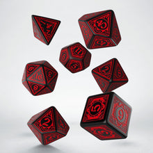 Load image into Gallery viewer, Pathfinder Wrath of the Righteous, Black and Red 7 dice polyhedral set