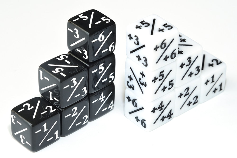 12pcs Positive/Negative Dice Counters for Magic The Gathering (6pcs white 6pcs black)