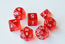 Load image into Gallery viewer, 7 dice Translucent Polyhedral Dice range