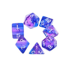 "Load image into Gallery viewer, 7 dice polyhedral ""Fruit Burst"" dice set - 6 colours"