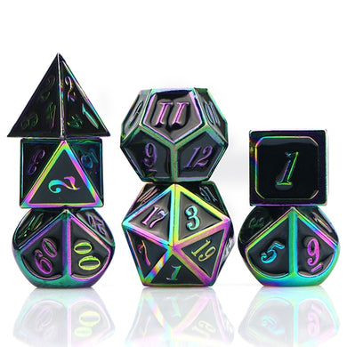 Dark Rainbow metal dice set