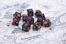 Load image into Gallery viewer, Royal purple with gold numbering, 7 dice polyhedral set