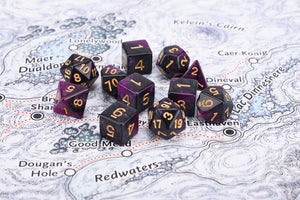 Royal purple with gold numbering, 7 dice polyhedral set