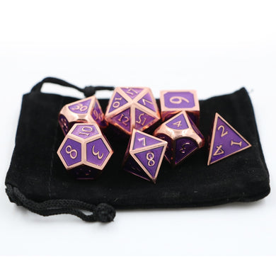 Purple and Rose Metal Dice Set