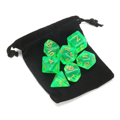 7 dice set, translucent green