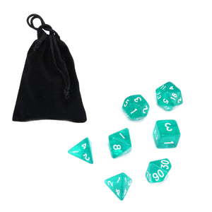 7 dice polyhedral set, translucent teal
