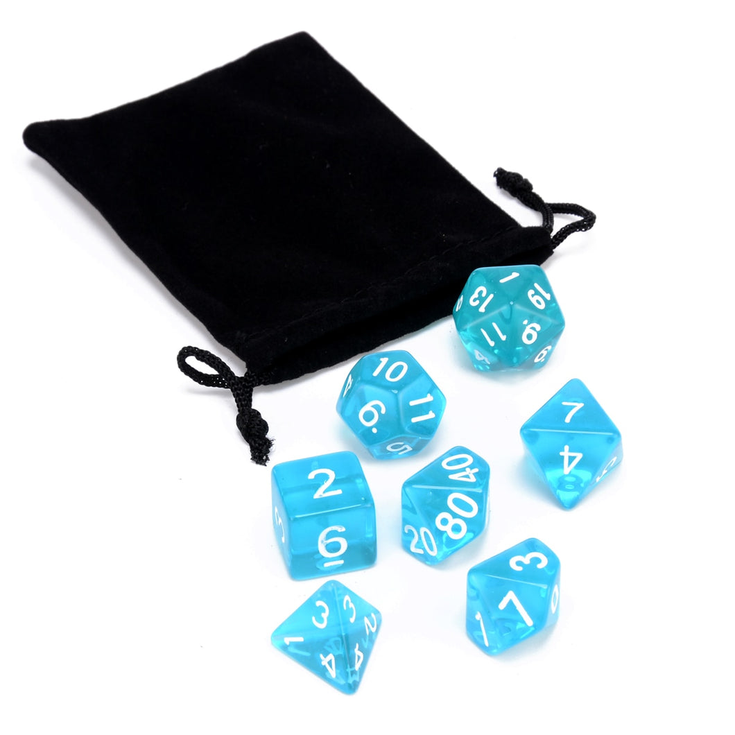 7 dice polyhedral set, translucent blue