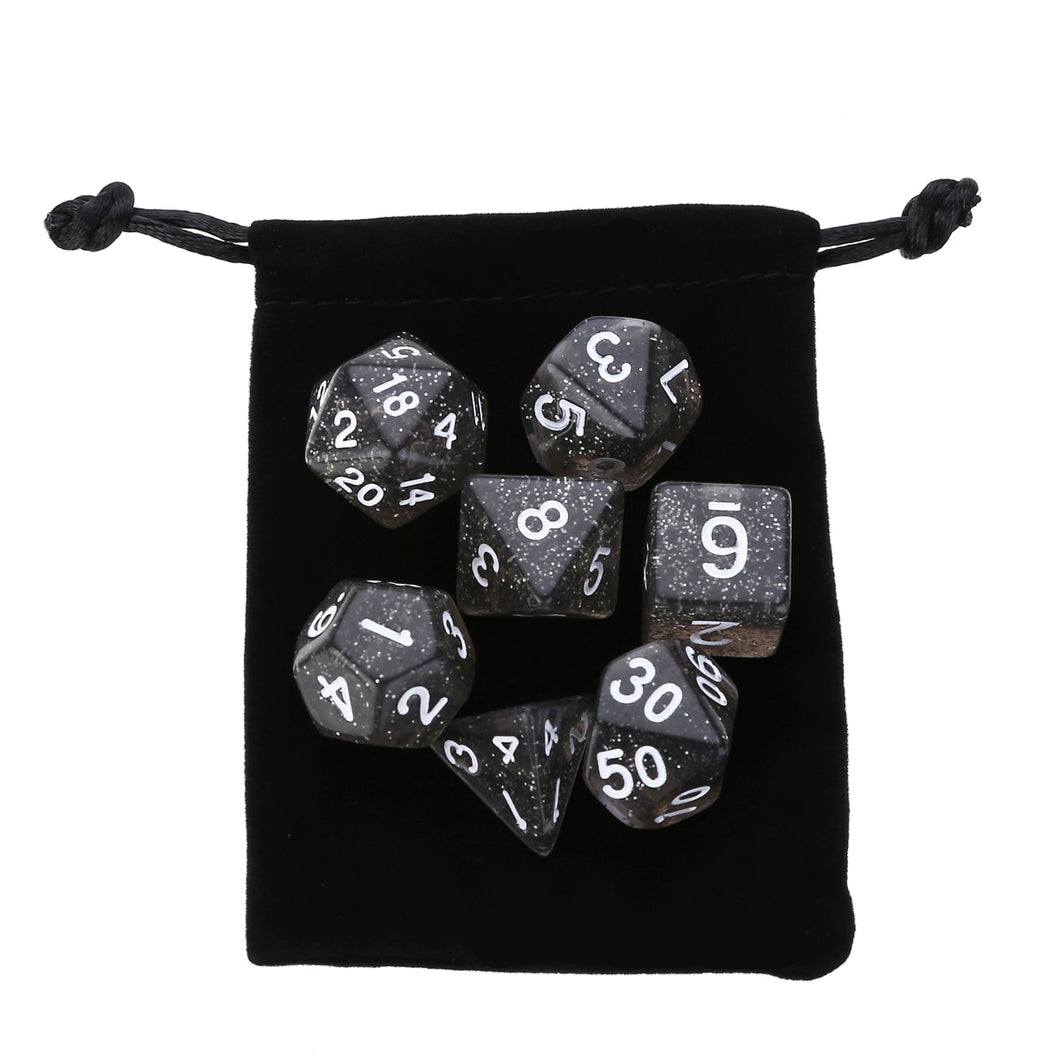 7 dice polyhedral set, translucent black