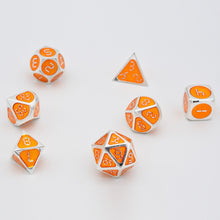 Load image into Gallery viewer, Orange and silver metal dice