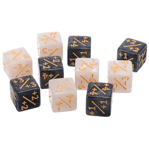 10 x positive / negative counters for Magic; the Gathering - Black and white with gold accent