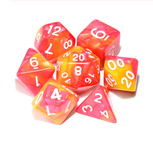 7 dice set, Yellow and red with white numbering
