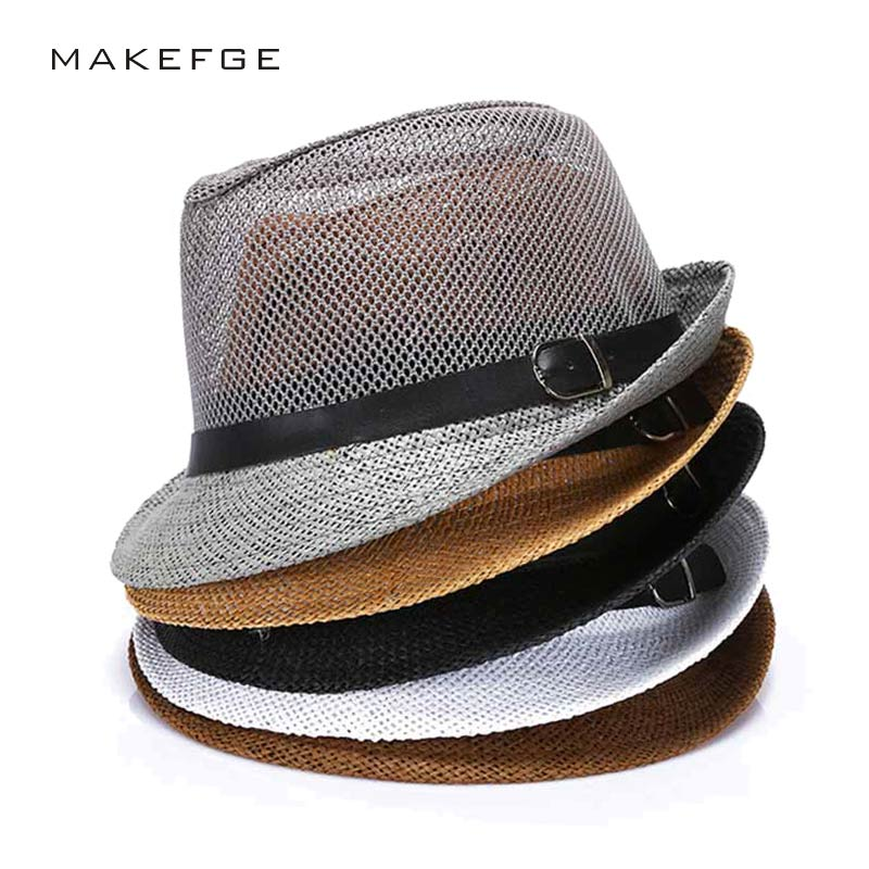 b0d83b1d0486c Save  13.02. cuban style hats Fashion Mens Summer Jazz Hat Breathable  Casual Floppy Jazz Hat for Men and Women Popular Black Fedora Cap