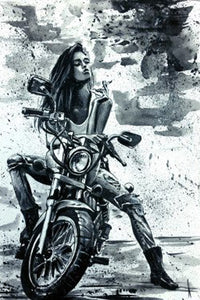 Motorradlady Diamond Painting