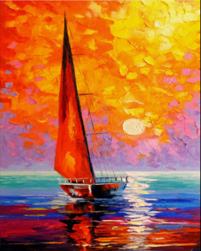 Segelschiff Aquarell Diamond - Painting
