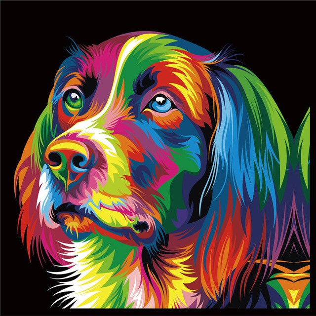 neon Hund - Diamond Painting