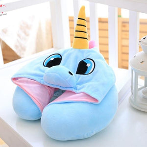 Unicorn plush-hoody neck pillow