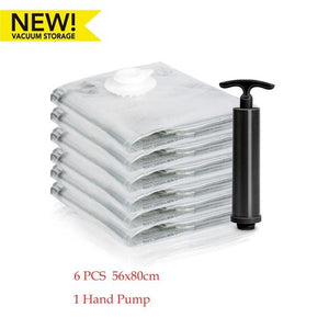 Vacuum storage clothes bags with pump