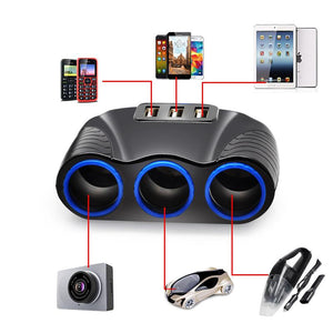 3-Socket Car Cigarette Lighter Charger w/ 3 USB Port 12V/24V
