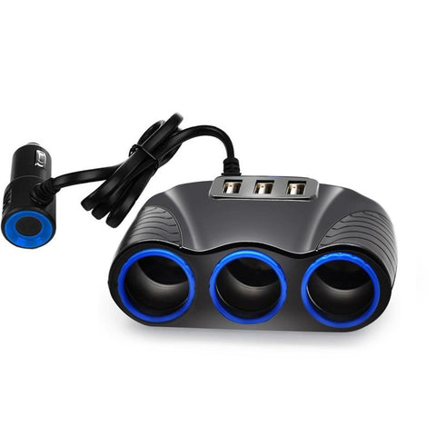 Image of 3-Socket Car Cigarette Lighter Charger w/ 3 USB Port 12V/24V