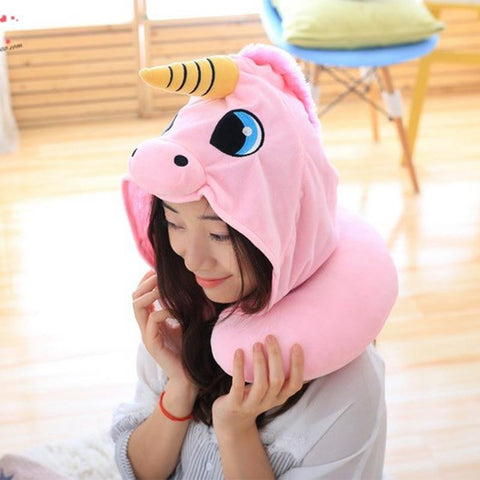 Image of Unicorn plush-hoody neck pillow
