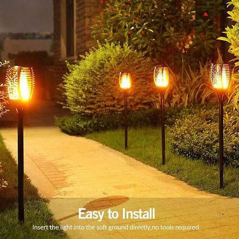 Retro Solar Waterproof Flickering Flames LED Garden Torches (2Pack)